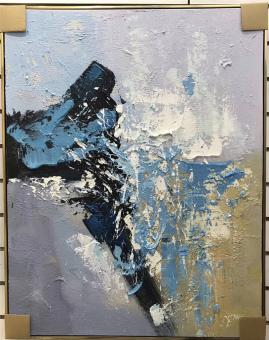 Gray and Blue Abstract Oil Paintings