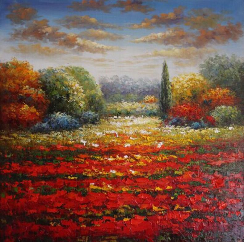 Red Flowers Field Landscape Oil Painting